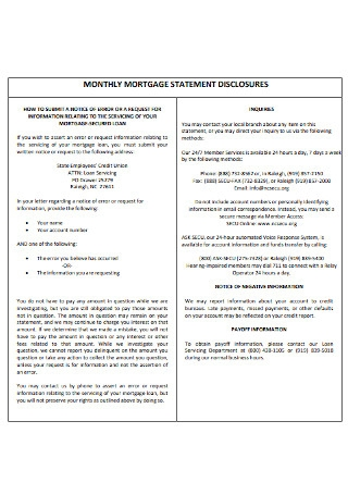 Monthly Mortage Statement Template