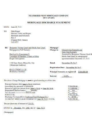 Mortage Discharge Statement