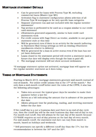 Mortage Statement Format
