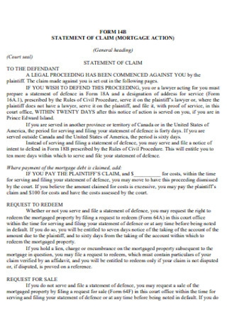 Mortage Statement of Claim