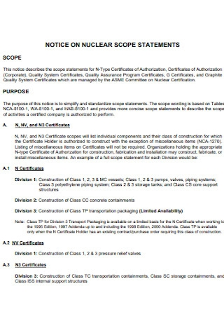 Notice on Nuclear Settlement Statement