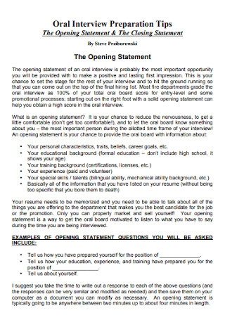 Opening Statement and The Closing Statement