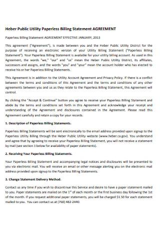 Paperless Billing Statement Agreement