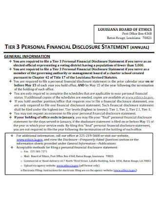 Personal Financial Disclosure Statement