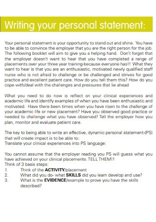 Personal Statement for a Nursing Job