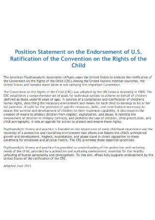 Position Statement on Endorsement