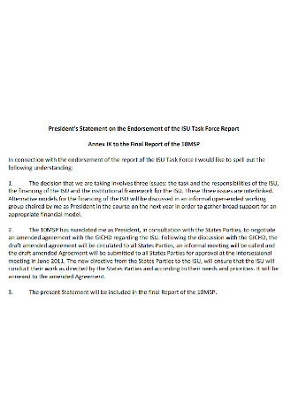 Presidents Statement on the Endorsement