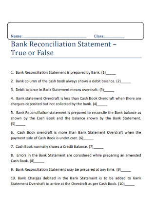 Printable Bank Reconciliation Statement