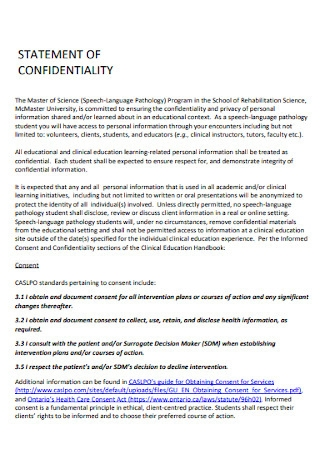 Printable Confidentiality Statement Template
