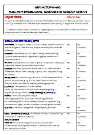 Printable Method Statement Example