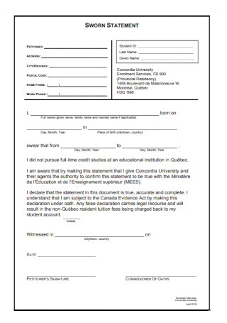 Printable Sworn Statement Template