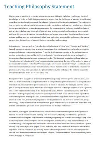 Printable Teaching Philosophy Statement