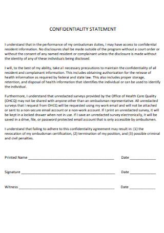 Program Confidentiality Statement