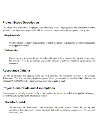 Project Scope Description Statement