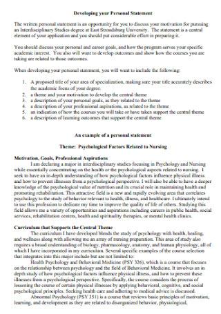 Psychological Nursing Personal Statement