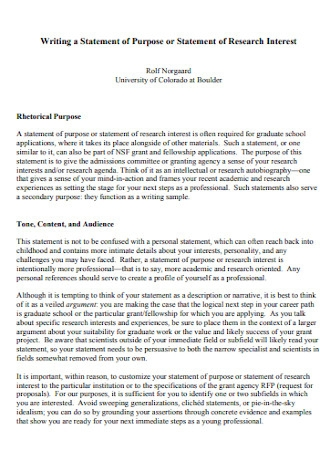 Purpose or Statement of Research Template