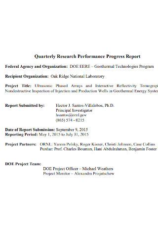 Quarterly Performance Progress Report