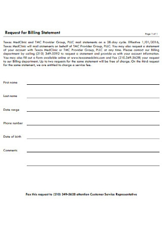 Request for Billing Statement Template