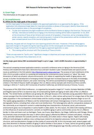 Research Performance Progress Report Template
