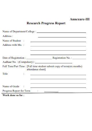 Research Progress Report