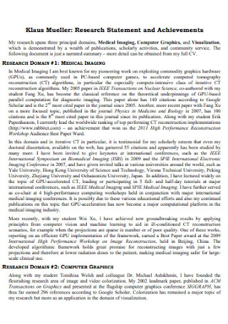 Research Statement and Achievements