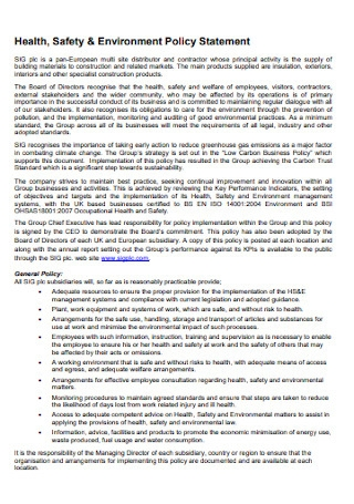 Safety and Environment Policy Statement