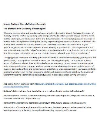 Sample Applicant Diversity Statement