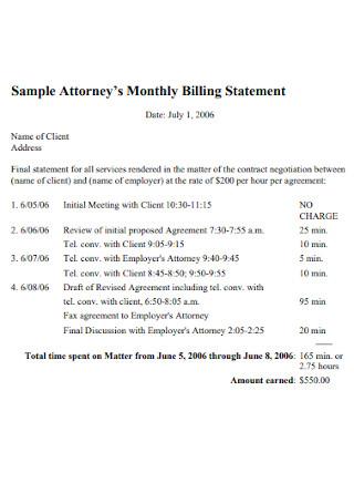 Sample Attorneys Monthly Billing Statement