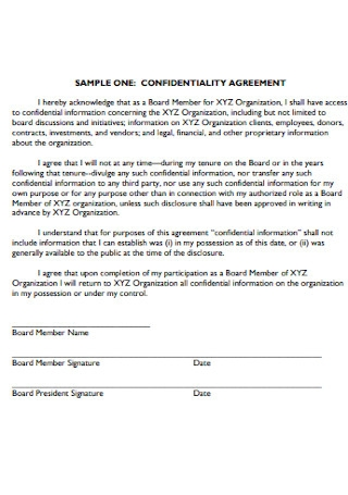Sample Confidentiality Statement