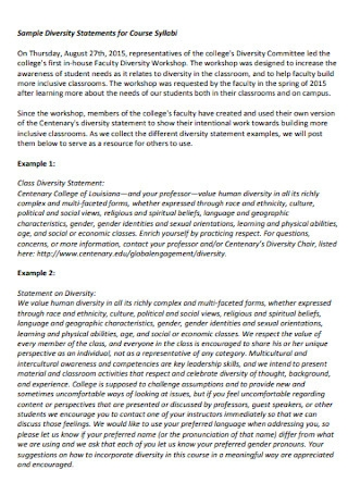Sample Diversity Statements for Course