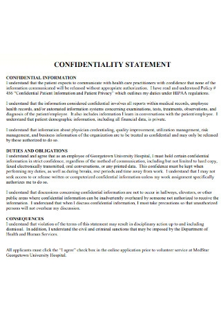 Sample Hospital Confidentiality Statement