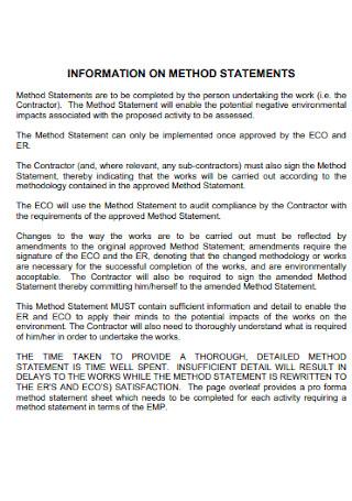 Sample Information of Method Statement