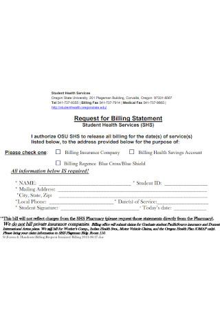 Sample Request for Billing Statement