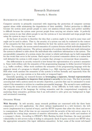 Sample Research Statement Template