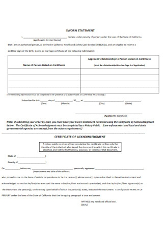 Sample Sworn Statement Template