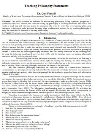 Sample Teaching Philosophy Statements