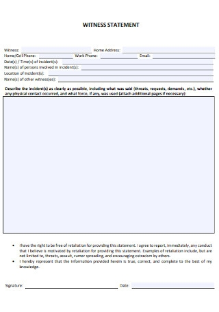 School Witness Statement Template