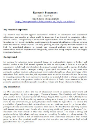School of Economics Research Statement
