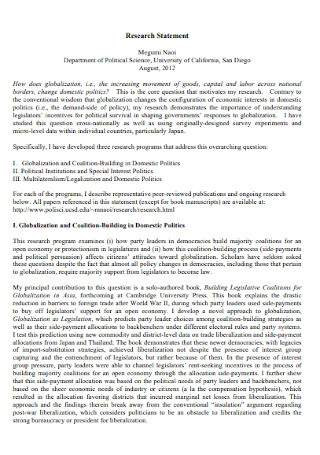 Science Research Statement