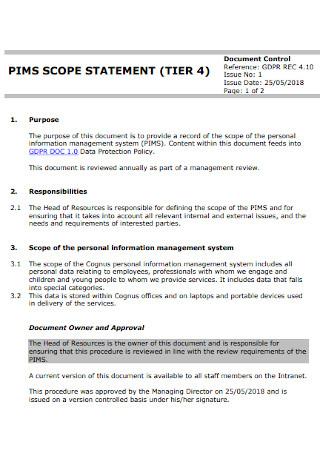 Scope Document Statement
