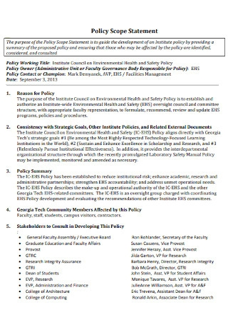 Scope Policy Statement Example