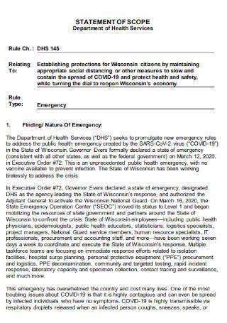 Scope Statement of Health Service