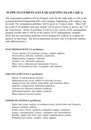 Scope Statement of Qualifying Exam