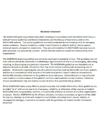 Simple Disclaimer Statement Template