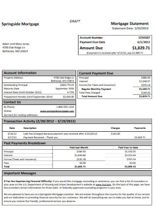 Springside Mortgage Statement