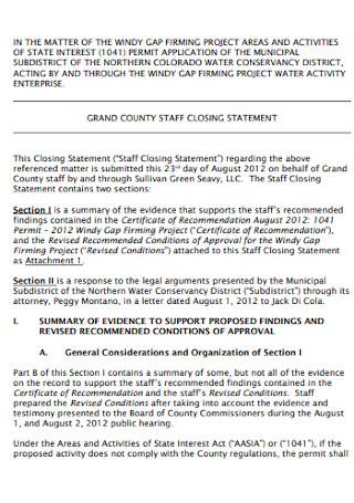 Staff Closing Statement