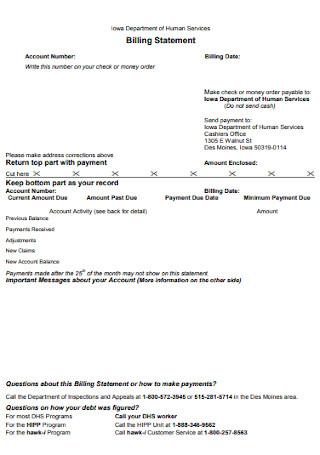 Standard Billing Statement Template