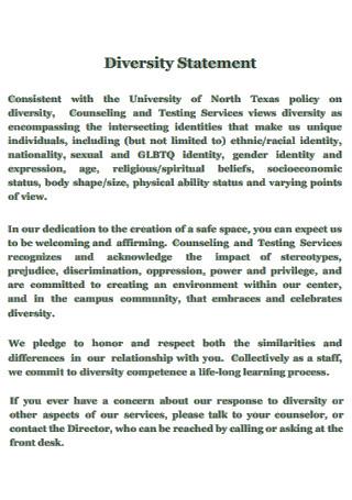Standard Diversity Statement Template