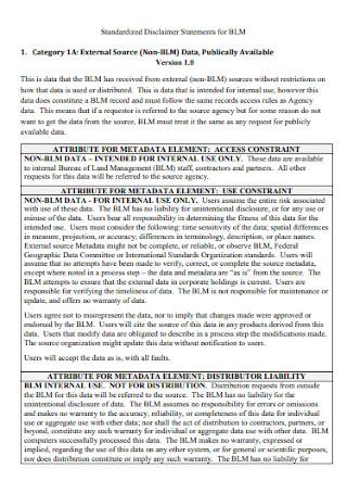 Standardized Disclaimer Statements