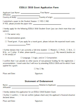 Statement of Endorsement Application Form